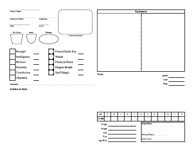 Simple Character Sheet made with Scribus