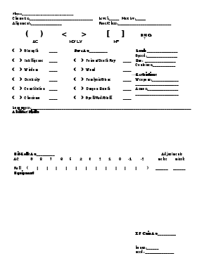 Special  Character Sheet